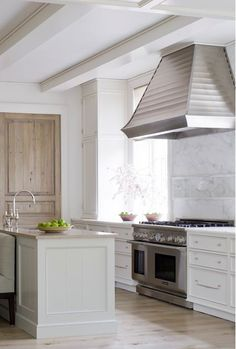 pleated stainless hood in kitchen
