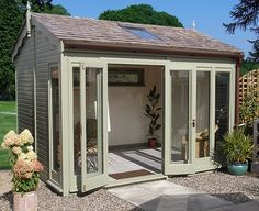 I like the roof on this one though obviously windows wouldn't work if want built in desk. malvern collection of garden offices garden rooms garden studios sheds summerhouses gazebos pavilions greenhouses and playhouses Studio Shed, Garden Studio, Pergola, Gazebo, Garden Huts, Garden Cabins, Summer House Garden, Summer Houses, Garden Workshops