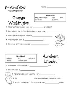 This simple activity can be used to assess your students' knowledge of George Washington and Abraham Lincoln.**If you are interested in this ac...