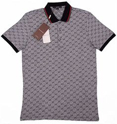 ab191664c Gucci Polo Shirt, Mens Gray Short Sleeve Polo T- Shirt GG Print All Sizes  (S)