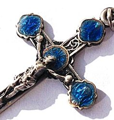 "Gorgeous piece for a man or woman, Vintage healing 1930-1940's Guilloche Enamel and Silver Metal Crucifix from Lourdes France. Jesus on the cross, and images in blue enameling of The Blessed Mother Virgin Mary as Our Lady of the Rosary of Lourdes. Approx 1.75"" long plus bail."