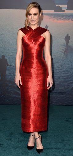 """Brie Larson in Oscar de la Renta attends the L.A. premiere of """"Kong: Skull Island"""" . #bestdressed"""