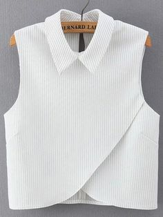 SheIn offers Vertical Striped Wrap White Shirt & more to fit your fashionable needs. White Cotton Shirt Mens, Outfit Trends, Mode Inspiration, Mode Style, Dress Patterns, Blouse Designs, Cute Outfits, Fashion Outfits, Work Fashion