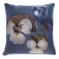 Salonki Embroidered Silk Cushioncover blue Finnish design by Pentik