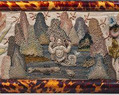 Английская объемная вышивка.1672 г. Рама для зеркала. Фрагмент.