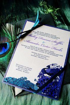 The Deanna Vintage Peacock Wedding Invitation