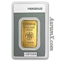 1oz 999.9 Heraeus gold bar