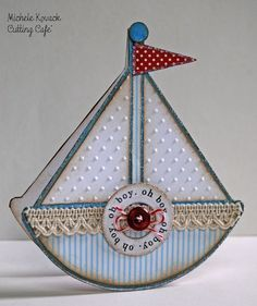 From Thoughts of a Cardmaking Scrapbooker: Baby Boy Sailboat Card.....