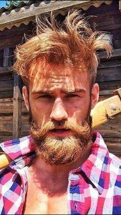 Hot Ginger Men, Red Hair Men, Handsome Bearded Men, Mustache Styles, Sexy Shirts, Beard No Mustache, Hair And Beard Styles, Facial Hair, Haircuts For Men