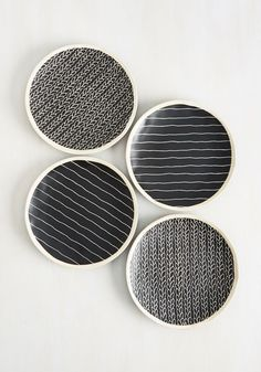Vine and Dine Plate Set. Youve followed the recipe to the letter, and atop these black and white plates, your culinary creation looks utterly chic! #black #modcloth
