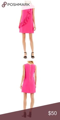 NWT Nicole Miller Cascading Ruffle Shift Dress Hot pink color  Retail: 130 Detail  Crew neckline Sleeveless Center back exposed gold zipper Crepe fabric Shift silhouette Go from day time chic to a fabulous night out in the town with this Cascading Ruffle Shift Dress by Nicole Miller New York. This dress also includes a classic shift silhouette and a center back gold zipper. For the finishing touches, add drop earrings and a beaded clutch for a show stopping appearance. Nicole Miller Dresses