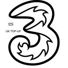 UK £25 THREE MOBILE TOPUP VOUCHER 3 MOBILE PHONE TOPUP VOUCHER 3 NETWORK VOUCHER