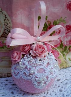 Shabby Sugared Pink Christmas Ornament, Pink Roses, Pearl Trim, Tree Ornaments | eBay