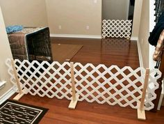 An easy to build Dog Fence fits into the space and can be removed ...