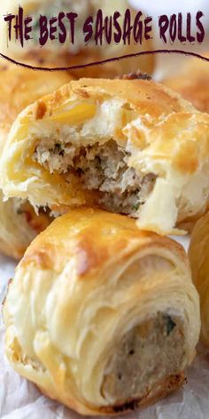 Sausage Rolls - An Easy Fun Party Appetizer! - Recipes to try - Puff Pasty Sausage Rolls - Appetizers For Party, Appetizer Recipes, Dip Recipes, Simply Recipes, Snack Recipes, Puff Pastry Appetizers, Sausage Roll Recipes, Finger Foods For Parties, Super Bowl Recipes