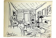 """Sketch for Mailman living room. Pen on tracing paper. Signed """"AH"""" and dated '84."""