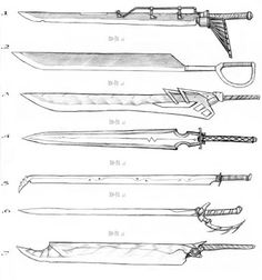 Sword Designs 3 by Iron-Fox on DeviantArt Drawing Techniques, Drawing Tips, Drawing Reference, Fantasy Sword, Fantasy Weapons, Game Design, Sword Drawing, Drawing Swords, Cool Swords