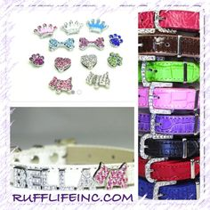 Custom collar for your fur baby ... Choose your Collar Color, Rhinestone lettering, & Rhinestone charm. Use coupon code PAWS20 for 20% off @ Rufflifeinc.com