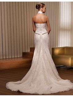 Online Sale Gorgeous Satin/Lace Halter Trumpet/Mermaid Wedding Dresses With Embroidered