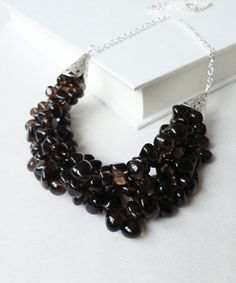 Smoky quartz stones statement bib necklace.