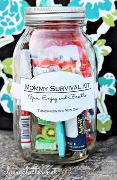 Mother's Day Gift Ideas: Survival Kit. Mother's Day homemade gift ideas with mason jars. Mason jar crafts for Mother's Day. Jar crafts for kids.
