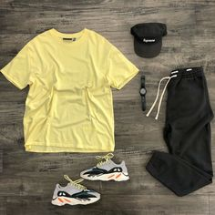 "D.B. on Instagram: ""Sweatpants Szn @outfitgrid @essentials 🍋 tee @pacsun sweats @adidasoriginals 700 Waverunner @supremenewyork 🧢 @movado watch I posted…"""
