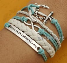 """Infinity bracelet - anchor bracelet,""""where there's a will there's a way""""antique silver,bridesmaid gift bracelet"""
