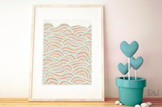 Summer Sea Waves Poster Print 8x10 or 11x14  par PomGraphicDesign