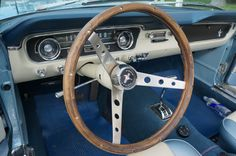 The steering wheel on a classic restored mustang convertible First Mustang, Classic Mustang, Mustang Convertible, Dad Day, Mom Blogs, Cruise, Restoration, Dads, Ford