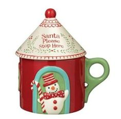 Merry Mini Cottage Mug with Lid by Grasslands Road Christmas Themes, All Things Christmas, Christmas Ornaments, Holiday Decor, Hot Chocolate Mug, Christmas Coffee, Tea Pots, Coffee Mugs, Merry