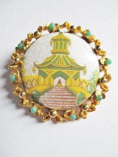 "Vintage Enameled Pagoda Shrine Pin Brooch Jade Lucite Trim Gold Plated 1 5"" D | eBay"