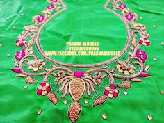 Prabha blouses. Hyderabad. 12-6-211/3 viveknagar kukatpally. Contact : 080999 09996. South Indian Blouse Designs, Best Blouse Designs, Simple Blouse Designs, Saree Blouse Neck Designs, Bridal Blouse Designs, Embroidery Works, Hand Embroidery Designs, Machine Embroidery, Hand Work Design