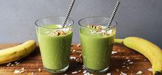 Grønn smoothie med ananas og banan Frisk, Banan, Pudding, Snacks, Desserts, Food, Spinach, Tailgate Desserts, Appetizers