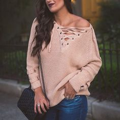 Chicwish Lace-up Mood Sweater (5695 RSD) ❤ liked on Polyvore featuring tops, sweaters, lace up front top, laced up top, tan top, lace front top and lacy tops