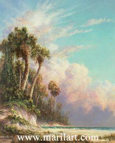 """Oil painting. """"Casperson Bluffs."""" Scene of Casperson Beach, Venice Florida. Artist: Art Fronckowiak"""
