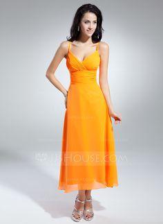 A-Line/Princess V-neck Tea-Length Chiffon Bridesmaid Dress With Ruffle (007014851) - JJsHouse