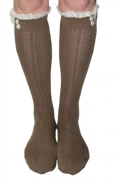 29c8a162104 Womens Light Brown Button Boot Socks With Lace Trim