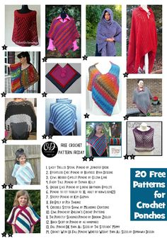 20 Free Patterns for Crochet Ponchos | Free Pattern Friday at Oombawka Design