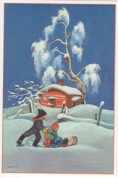 Martta Wendelinin joulukortit Very Merry Christmas, Christmas Art, Xmas, Christmas Ideas, Vintage Greeting Cards, Vintage Christmas Cards, Christmas Postcards, Christmas Illustration, Children's Book Illustration