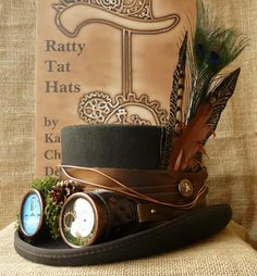 A Middle Earth inspired Steampunk top hat. Custom make named The Bilbo by Ratty Tat Hats.