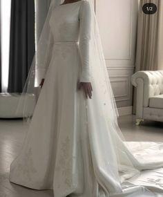 Dior Wedding Dresses, Teal Bridesmaid Dresses, Simple Wedding Gowns, Wedding Dress Train, Custom Wedding Dress, Elegant Wedding Dress, Bridal Dresses, Muslimah Wedding Dress, Hijab Dress Party
