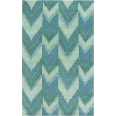 Mount Perry Seafoam/Teal Chevron Rug