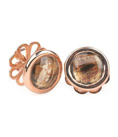 Rose Gold Stud Earrings in Smoky Quartz by Marilyn Tan