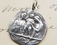 St Joseph Wreath Medal / Charm Patron of fathers by rosamystica