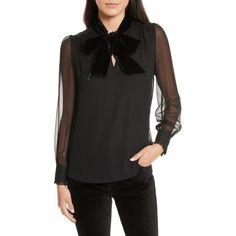 KATE SPADE NEW YORK velvet neck silk chiffon top ($258) ❤ liked on Polyvore featuring tops, blouses, velvet long sleeve top, ruffle blouse, sheer long sleeve blouse, bow neck blouse and evening blouses