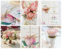 Amazing protea wedding with watercolor style wedding invitations