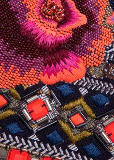 Floral Folk Embroidered Clutch matthew williamson