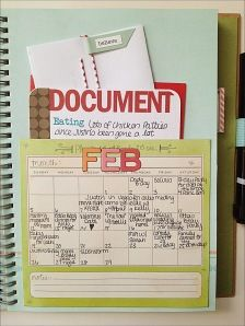 Project Life Smash Book - Two Peas in a Bucket Journal Ideas Smash Book, Smash Book Inspiration, Journal Pages, Journal Inspiration, Calendar Journal, Calendar Pages, Pocket Calendar, Planner Journal, Filofax
