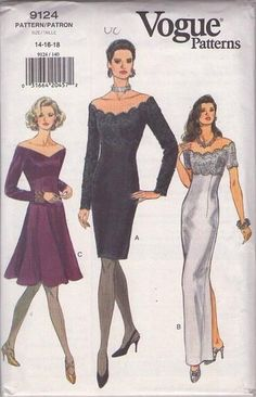 MOMSPatterns Vintage Sewing Patterns - Vogue 9124 Retro Sewing Pattern STUNNING Off the Shoulders V or Scalloped Neckline Empire Waist Form Fitting Red Carpet Evening Gown, Sheath or Flared Skirt Cocktail Party Dress Size Vogue Sewing Patterns, Vintage Sewing Patterns, Clothing Patterns, Dress Patterns, Vestidos Vintage, Vintage Dresses, Vintage Outfits, Vintage Fashion, 90s Fashion