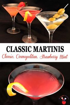 Three perfect classic martinis, one to fit everyone's taste buds. The classic for the traditionalist, the cosmopolitan for those that like a little tart with their sweet and the Strawberry Mint that brings a fruity sweetness to the palate. Perfect for your next cocktail party. #cocktails #drinks #vodka #vermouth #strawberries #mint #drymartini #cosmopolitan #strawberrymintmartini via @2CookinMamas